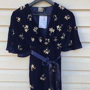 •Velvet Wrap Kimono Mini Dress•